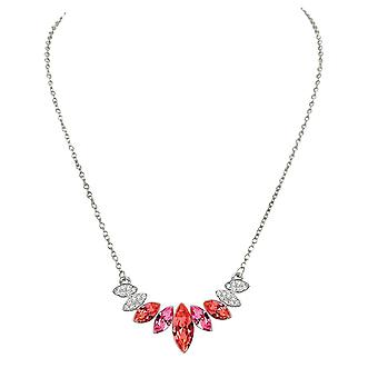 Eternal Collection Mirabeau Hyacinth Orange Multi Crystal Silver Tone Necklace