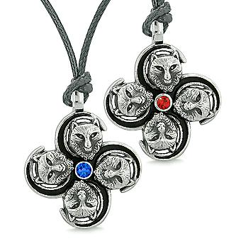 Supernatural Courage Wolf Amulets Love Couples Best Friends Royal Blue Red Crystals Adjustable Necklaces