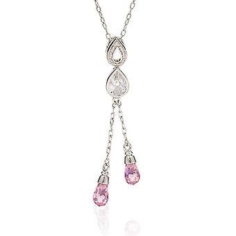 PENDANT WITH CHAIN DROPS WITH DOUBLE LINE 925 SILVER AND PINK ZIRCONIUM