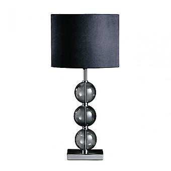 Premier Home Mistro Table Lamp, Stainless Steel, Suede, Black