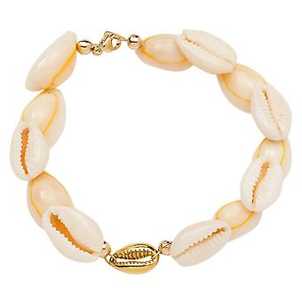 Gemshine Maritim Nautic Bracelet Kauri Shell 925 Silver High Quality Gold Plated