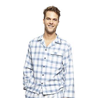 Cyberjammies 6423 Men's Harper Blue Mix Check Cotton Long Sleeve Pyjama Top