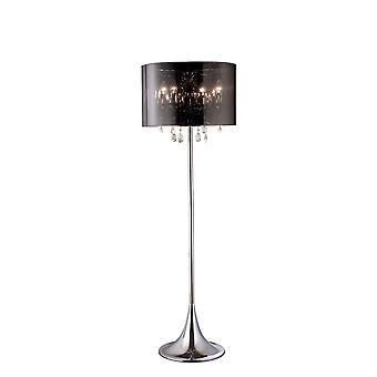 Diyas Trace Floor Lamp With Chrome Shade 4 Light Polished Chrome//PVC/Crystal