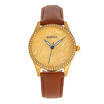 Bertha Dixie Floral Engraved Leather-Band Watch - Brown