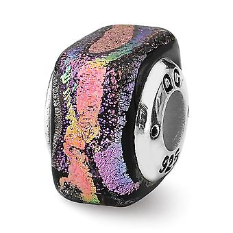 925 Sterling Silver Antique finish Reflections Purple Square Dichroic Glass Bead Charm