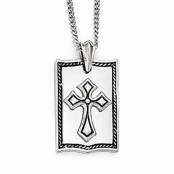 Stainless Steel Antiqued Cross Dog Tag Necklace - 24 Inch