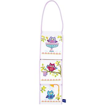Owls In Bathroom Tissue Roll Holder On Aida Counted Cross St-4.25