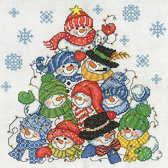 Stacking Snowmen On Linen Counted Cross Stitch Kit-10.5