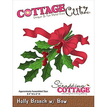 Cottagecutz Die Holly Branch with Bow Cc019