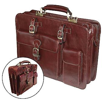 San Babila Leather Top Opening Briefcase - Cognac