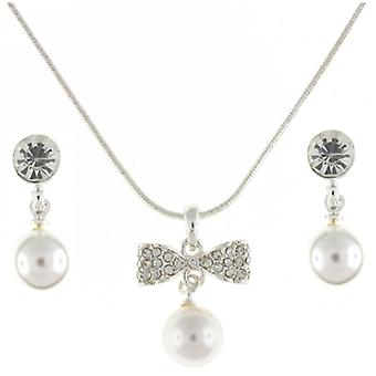 Silver & Austrian Crystal Bow Pearl Pendant & Earrings Jewellery Set