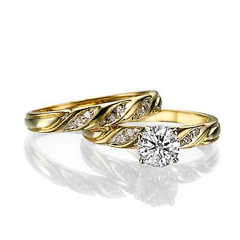 Beautiful 1.60ct White Sapphire and Diamonds Ring Yellow Gold 14K