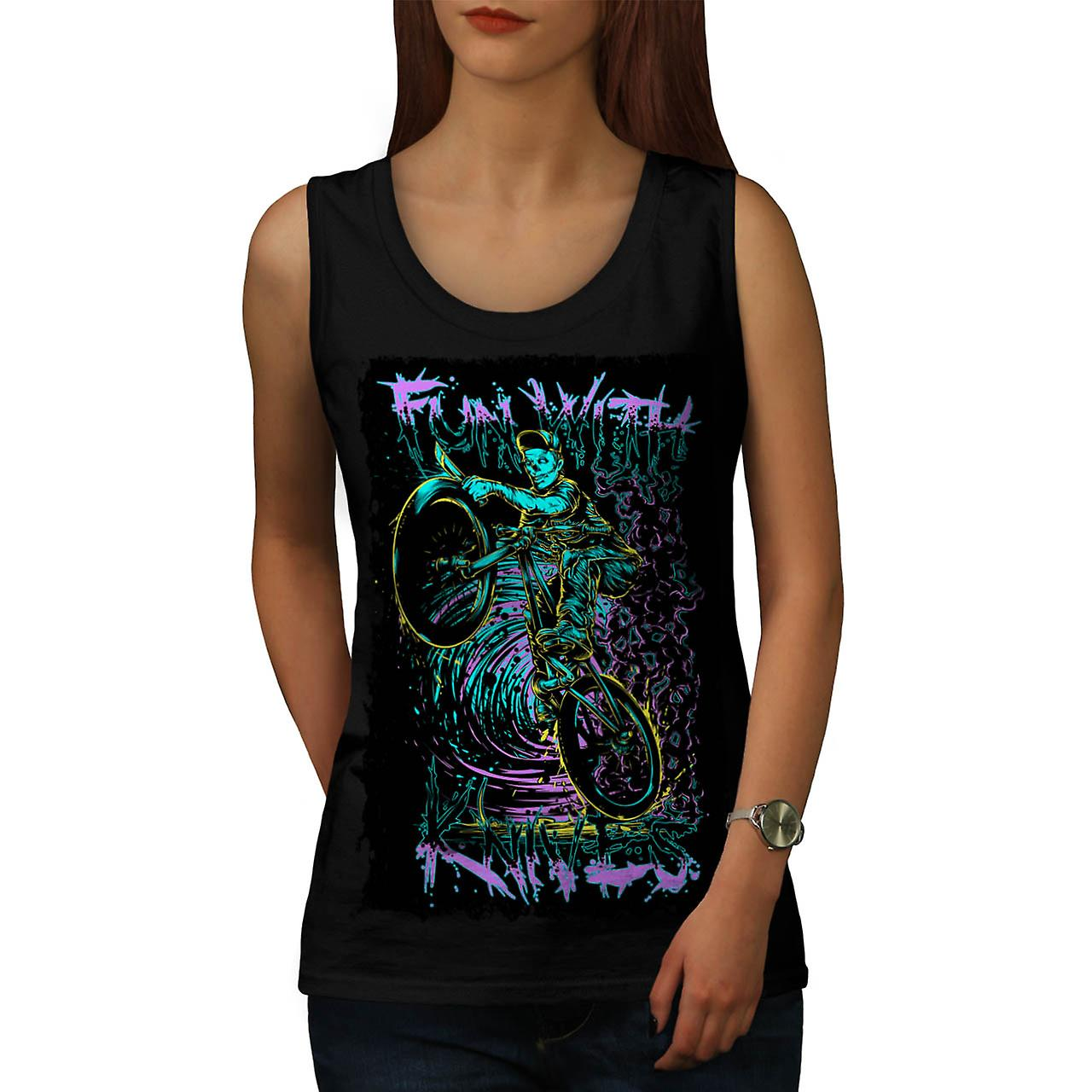 Fun With Knives Rider Zombie Bike Women Black Tank Top | Wellcoda