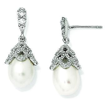 Sterling Silver CZ Freshwater Cultured Pearl Dangle Post Earrings