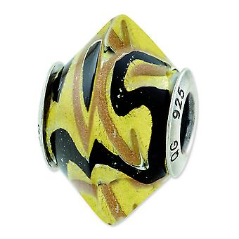 Sterling Silver Antique finish Reflections Yellow Black Italian Murano Glass Bead Charm