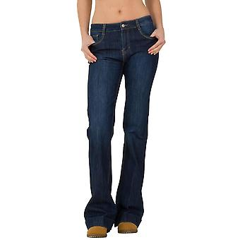 Bootcut Flared Stretch Mid Rise Jeans - Indigo Blue