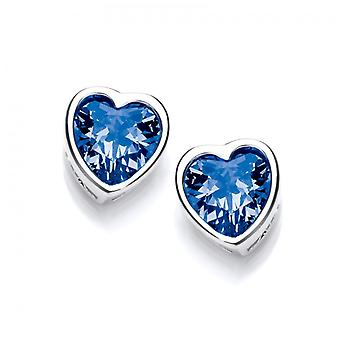 Cavendish French Take Heart Tanzanite CZ Stud Earrings