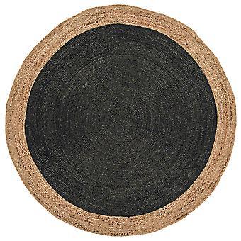 Kos Hand braided Reversible Charcoal Grey Circle Rug