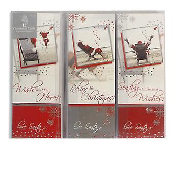 Pack of 12 Luxury Christmas Xmas Cards inc. Envelopes in 3 Contemporary Designs