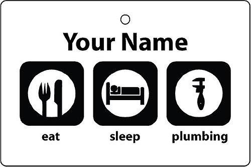 Personalised Eat Sleep Plumbing Car Air Freshener