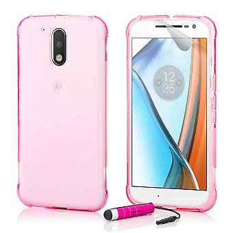 Tough Crystal Gel case + stylus for Motorola Moto G4 / G4 Plus - Hot Pink