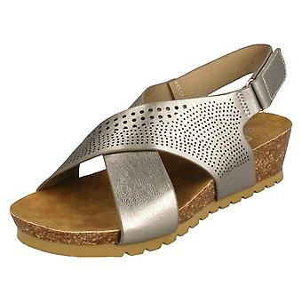 Ladies Down To Earth Mid Wedge X Strap Sandals F10675