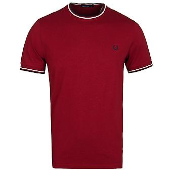 Fred Perry Claret mergel Twin tippes Crew Neck T-Shirt