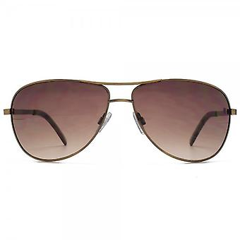 Fenchurch Round Metal Aviator Sunglasses In Brushed Copper