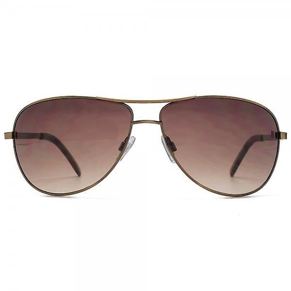 Fenchurch Round Metal Pilot Sunglasses In Brushed Copper