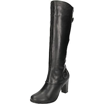 Hush Puppies Libby Brook Brown Real Leather Suede Knee High Heel Boots