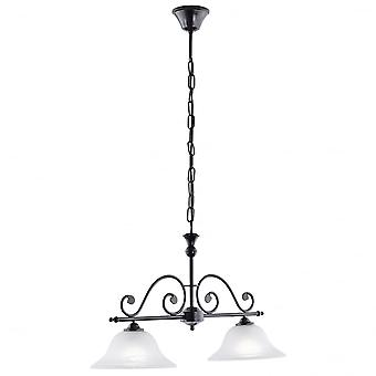 Eglo Murcia 2 Light Traditional Pendant Ceiling Light Black Fini