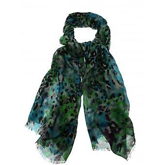 W.A.T Green And Blue Coloured Large Animal Print Scarf