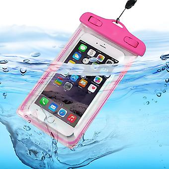 ONX3 (Hot Pink) Asus Zenfone 4 Universal Durable Underwater Dry Bag, Touch Responsive Transparent Windows, Watertight Sealed System Pouch