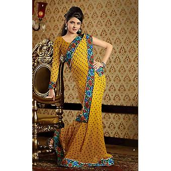 Chaitali gelb Faux Crepe Luxus Party tragen Sari saree