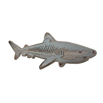 Distressed Wood and Galvanized Metal Shark Wall Hanging