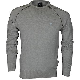 883 Police Champ Ribbed Cotton Marl Grey Jumper