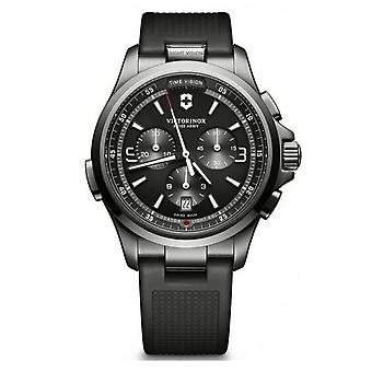 Victorinox Swiss Army 241731 Night Vision Chronograph Black Ice Pvd Rubber Watch