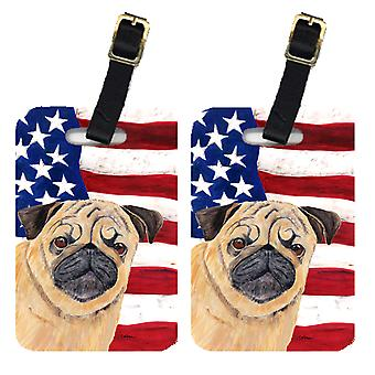 Carolines Treasures  SC9006BT Pair of USA American Flag with Pug Luggage Tags