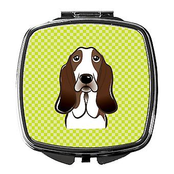Checkerboard Lime Green Basset Hound Compact Mirror