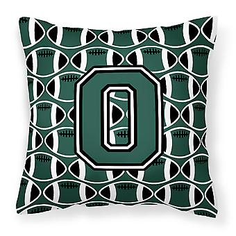 Letter O Football Green and White Fabric Decorative Pillow