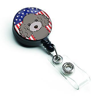 Bandiera americana e barboncino grigio argento retrattile Badge Reel