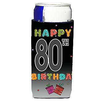 Happy 80th Birthday Ultra Beverage Insulators for slim cans