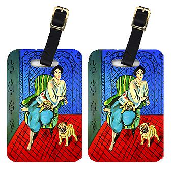 Carolines Treasures  7072BT Lady with her  Pug Luggage Tags Pair of 2