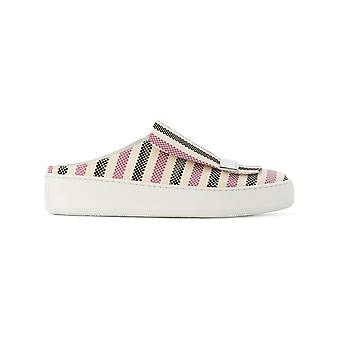 Sergio Rossi women's A80340MTE1215058 white / pink cotton slip on sneakers