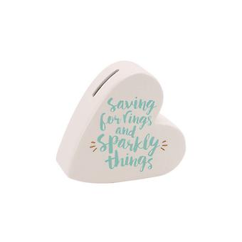 CGB Giftware Oh So Pretty Saving For Rings And Sparkly Things Ceramic Heart Money Bank