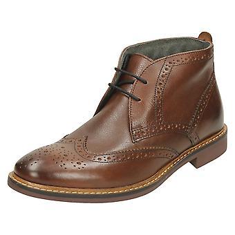 Mens Base London Formal Ankle Shoes Trick - Grain Brown Leather - UK Size 6 - EU Size 39.5 - US Size 7