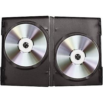 CD/DVD-box 2-fold made of plastic Black 2 CDs/DVDs