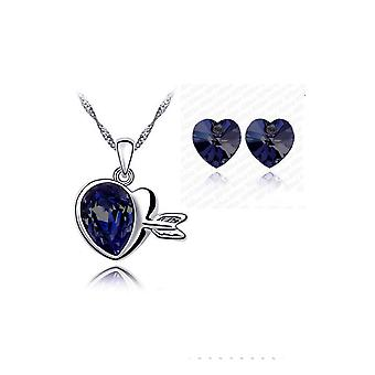 Crystal Love Hearts Silver Elegant Drop Earrings And Necklace Jewellery Set Dark Purple