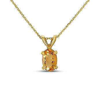 10k Yellow Gold Oval Citrine Pendant with 16