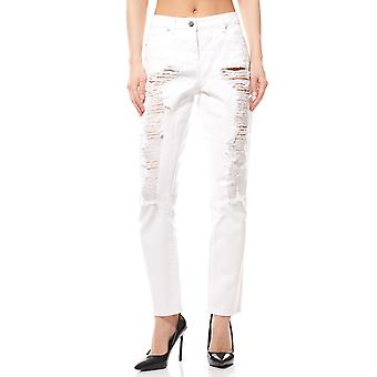 Destroyed jeans trousers ladies short size white Aniston